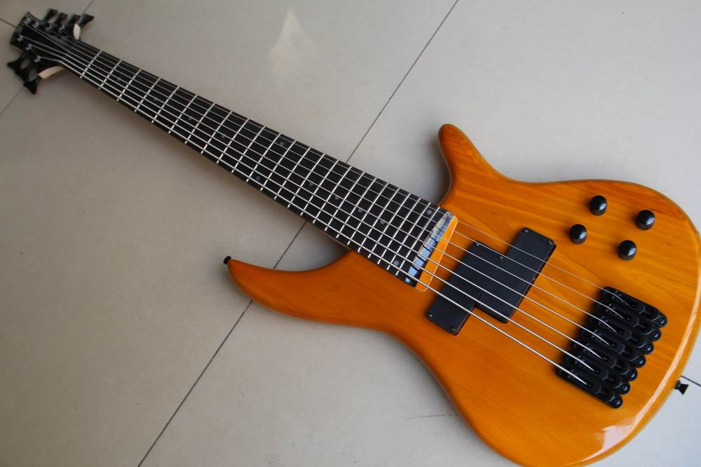 wholesale new 7 string electric bass guitar in natural wooden top quality bass guitar 120315 in. Black Bedroom Furniture Sets. Home Design Ideas