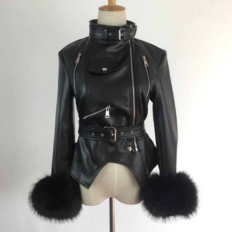 PU Leather Jacket Women Winter Black Padded Warm Punk Outerwear Fashion Motorcycle Female Coat Fur Sleeves Windbreaker LJLS122