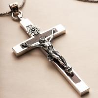 925 Sterling Silber Retro Jesus Sandelholz Kreuz Kruzifix Halskette Anhänger Männer Thai Silber Edlen Schmuck Geschenk CH038761