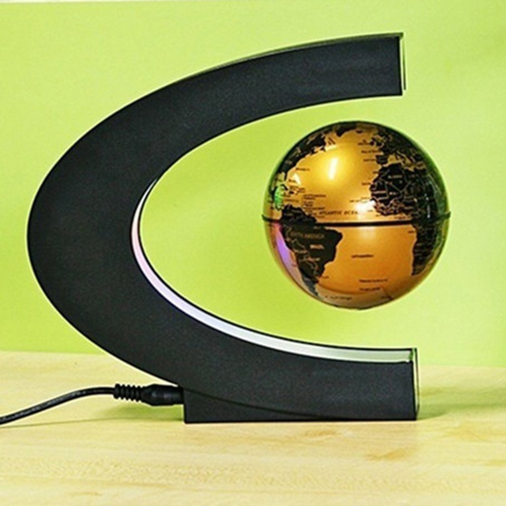EU Plug gold Globe World Novelty Decoration Magnetic Levitation Floating Globe World Map Decoration Santa Birthday Gift diy scratch globe 3d stereo assembly globe world map travel kid child toy gift