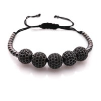 Hot Sales Brand Anil Arjandas Men Bracelets 10mm Black CZ Pave Setting Black CZ Beads Braiding