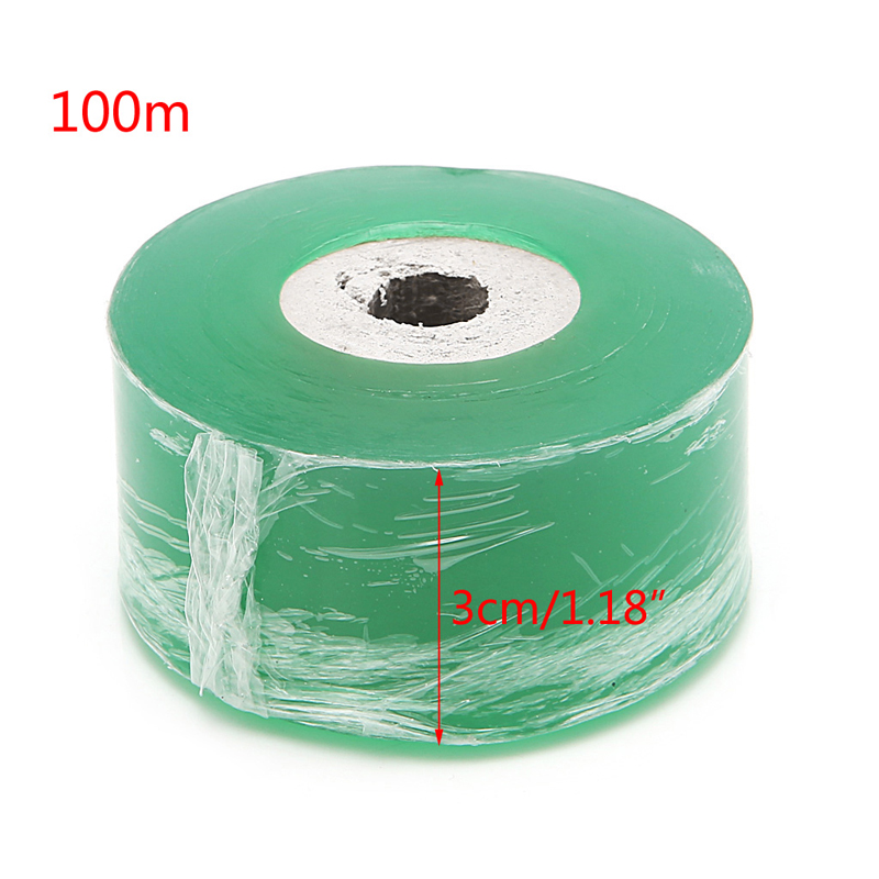 OOTDTY Green Garden Tools Fruit Tree Engraft Branch Bind Belt PVC Tie Tape 3CM X 100M/ Roll Stretch Film / Grafting Parafilm