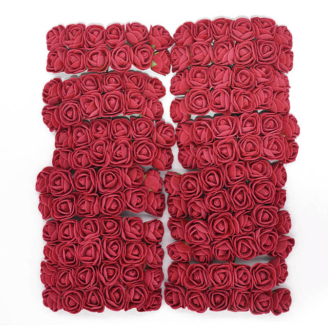 144 piezas de espuma oso de peluche rosa decoración PE espuma Rosa cabeza falsa flor hecha a mano decoración de boda Srapbooking caja de regalo diy corona
