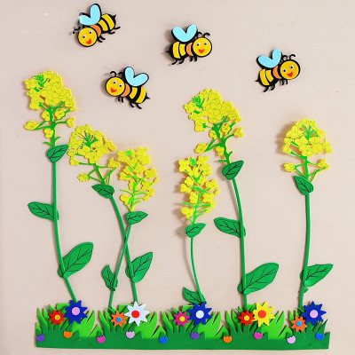 Creative DIY EVA Foam Rape Flowers and Bees for Kids Learning Educational Toy Wall Decor