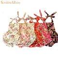 La colmena del bebé del mameluco Retro Floral impreso mamelucos de las muchachas de flor burbuja Bloomer cómodo 100% algodón para niños Sunsuit