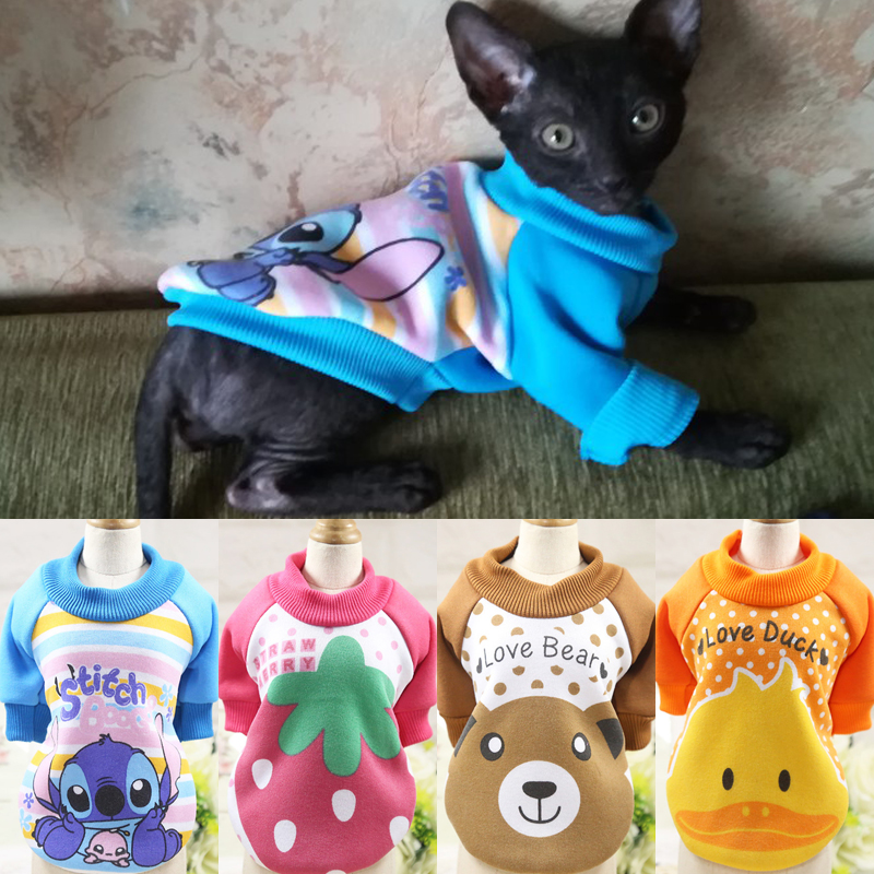Cartoon Pet Cat Costume Winter Warm Cat Clothes For Cats Kitten Dog Coat Jackets Cotton Kitty Clothing Sweatshirt Pets Products