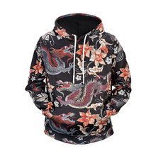 Chinese Dragon Floral Print Fleece Hoodies Hip Hop Streetwear Fashion Casual Pullover Hooded Sweatshirts Harajuku Tops