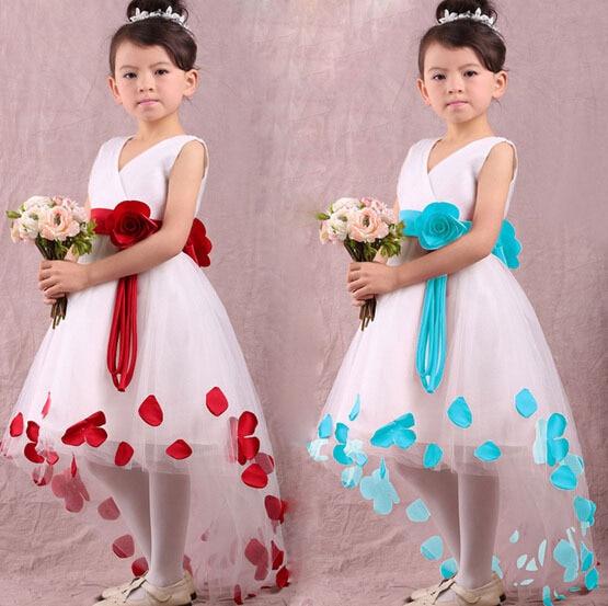 flower girl dresses weddings 2 colors ,girls pageant dresses,wedding party dress, children V-neck princess dress H2159 - Go for beauty store