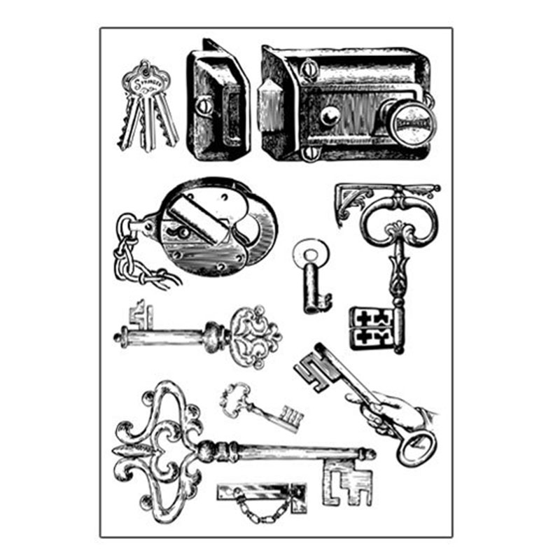 Vintage key silicone transparent Clear Stamps for scrapbook DIY Photo album Rubber Stamps in Stamps from Home Garden
