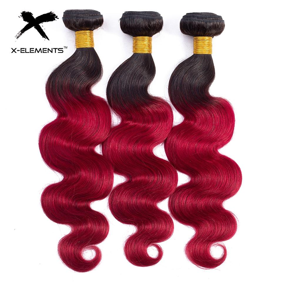 X-Elements Ombre Brazilian Body Wave Hair Bundles T1B Red T1B 30 T1B Burgundy Ombre Human Hair Extensions Two Tones Hair Weave Bundles (13)