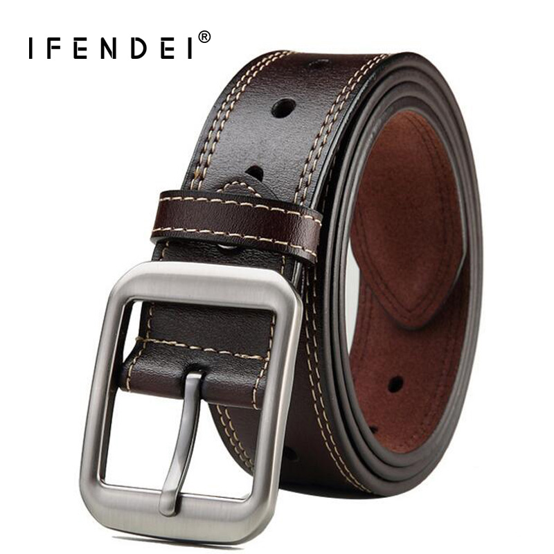 IFENDEI Man's Black Leather Belt Large Genuine Leather Belt Waist Needle Metal Buckle Strap 145cm cinturon hombre High Quality