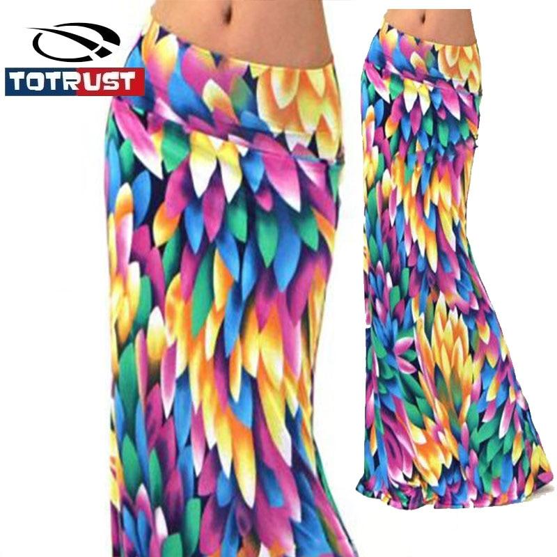 Collectie Hier Totrust 2019 Zomer Lange Bloem Rok Faldas Largas Sexy Knit Potlood Rokken Womens Jupe Longue Bohemian Saia Longa Lange Rok
