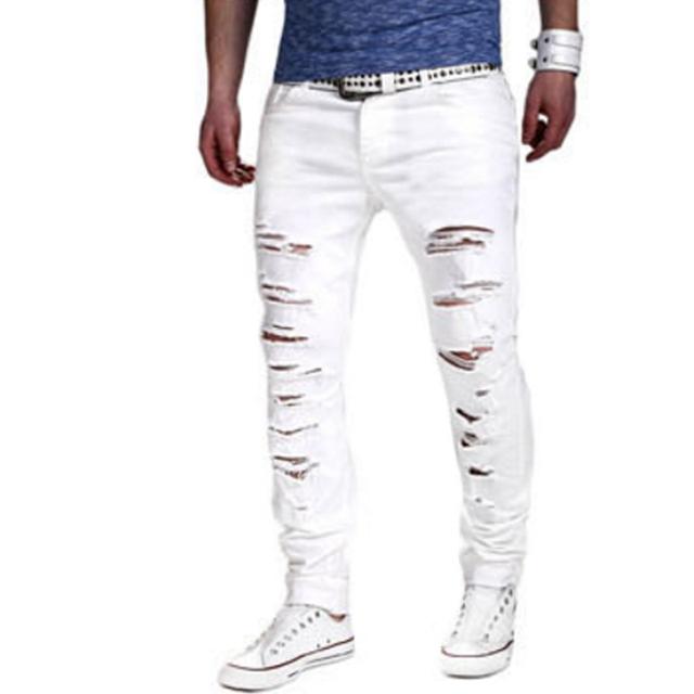 Marca Masculina Nova Moda 2017 Homens Calça Casual Homem Calças Mendigos Buraco Fino de Cor Sólida Designer Mens Corredores GDFF 2XL