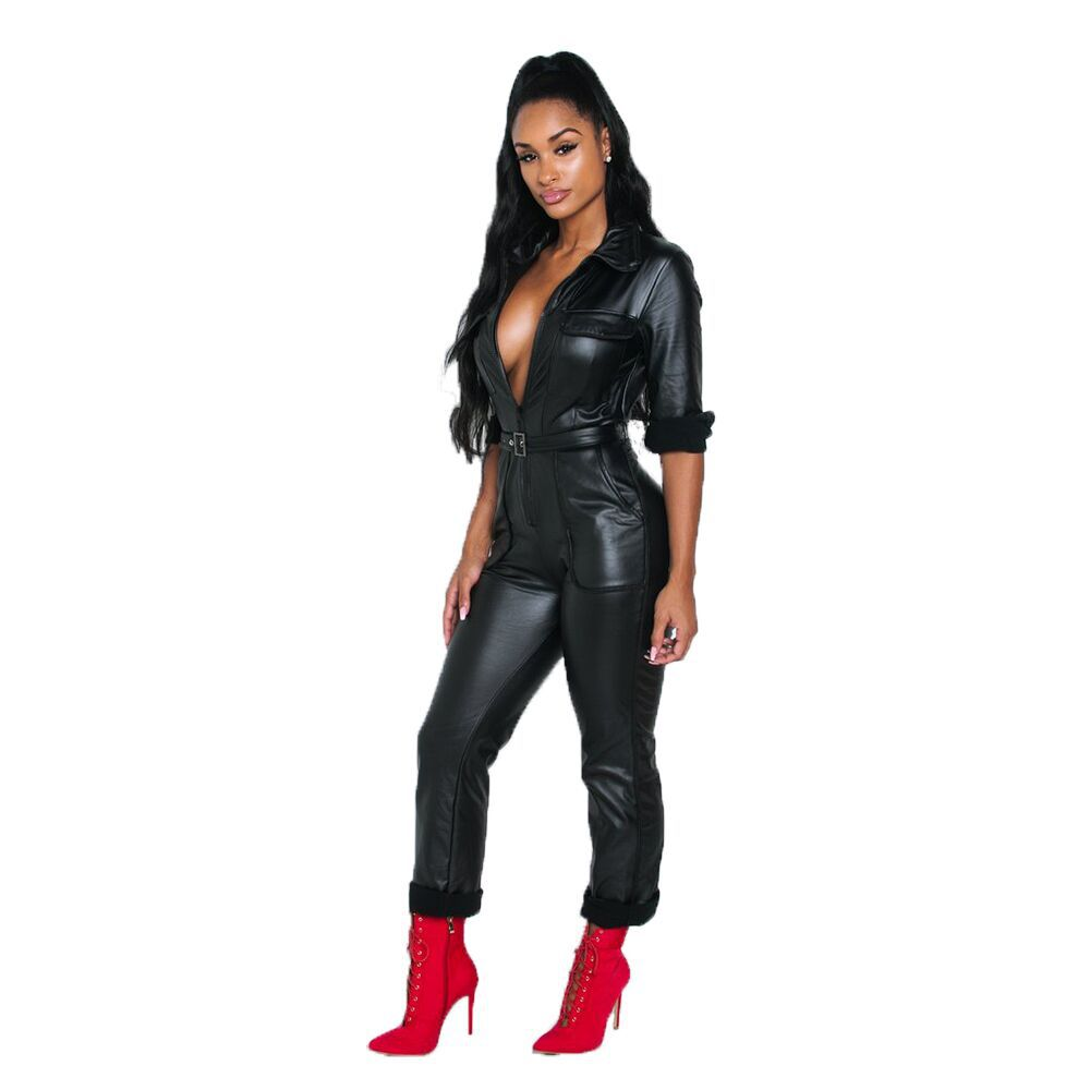 Women New Faux Leather PU Long Sleeve Zip Up High Waist Moto Biker Sashes Straight Long Legging Jumpsuit Playsuit Romper Y5072