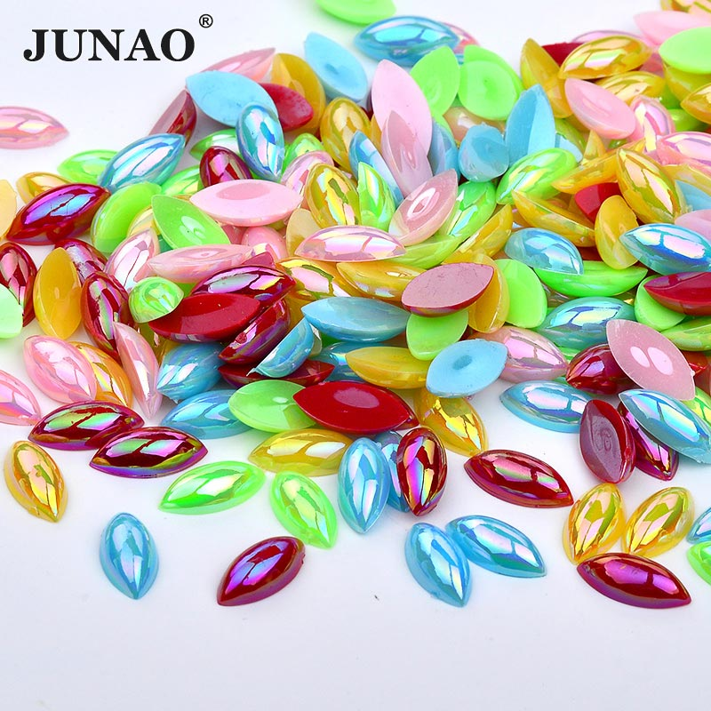 JUNAO 7*15mm Mix Color AB Rhinestones Horse Eye Shape Acrylic Crystals Stones Flatback Non Hotfix Strass For DIY Clothes Crafts