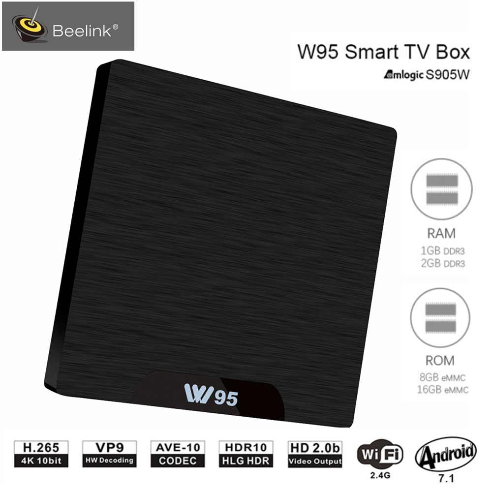 Beelink W95 TV Box Android 7.1 Amlogic S905W Quad Core 2G RAM 16G ROM Set Top Box 2.4G Wifi HDMI2.0 3D H.265 4 K Media lettore
