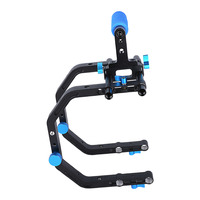 Double C-Shaped Support Shoulder Cage For 1/4'' Screw 15mm rod with Top Handle DSLR Rig Rail System for Camcorder