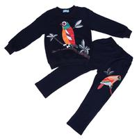 Boutique Children Girls Clothing Set Outfit Cartoon Bird Printed Navy Winter Spring Leisure Top Pants 2