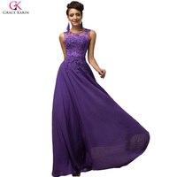 Elegant Avondjurk Grace Karin Long A Line Vestido Chiffon Sleeveless Pink Purple Prom Dress Women Wedding