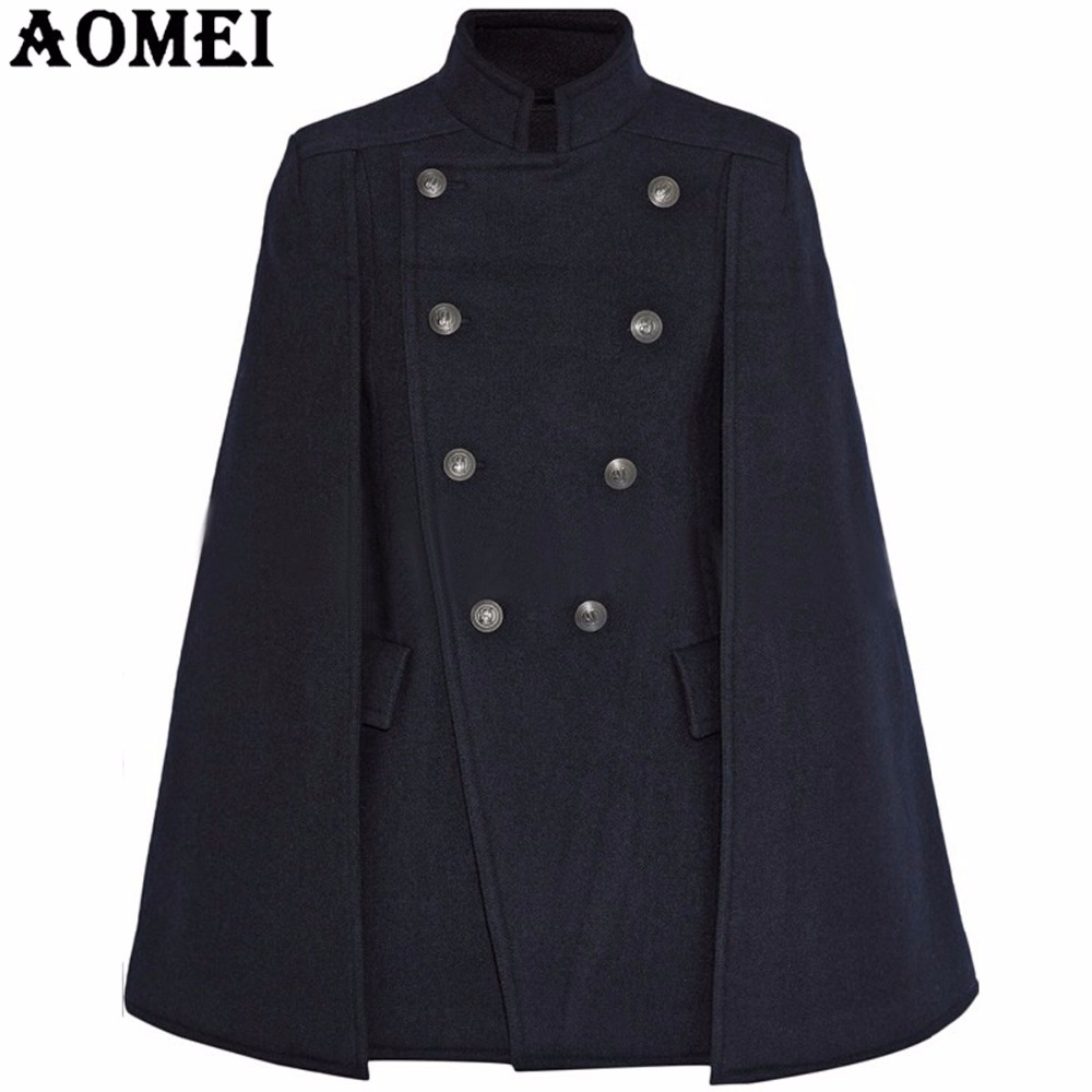 Fashion Women Blue Woolen Coats Cloak Navy Blue Workwear Winter Office Lady Outwear Double Button 2019