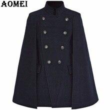 Модное женское синее шерстяное пальто, плащ, темно-синяя рабочая одежда, зимняя Офисная Женская верхняя одежда с двумя пуговицами, новинка, осеннее пальто, накидка