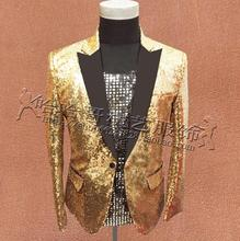 Gold sequins suits mens clothing personalized masculino homme stage costumes for singers jacket men blazer dance star style 3XL