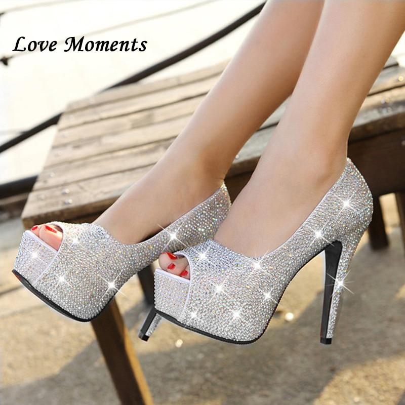 Sparkling rhinestone wedding shoes open toe high heeled white single shoes women s party bridal shoes