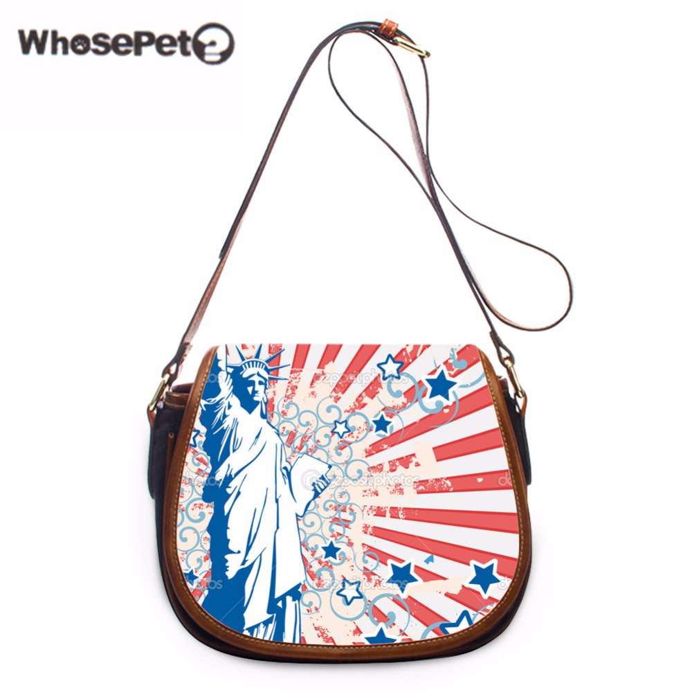 a235cf737a WHOSEPET Vintage Single Shoulder Bag Statue of Liberty Printing Sling Bags  Women Messenger Bags Luxury Tote Crossbody Purses New