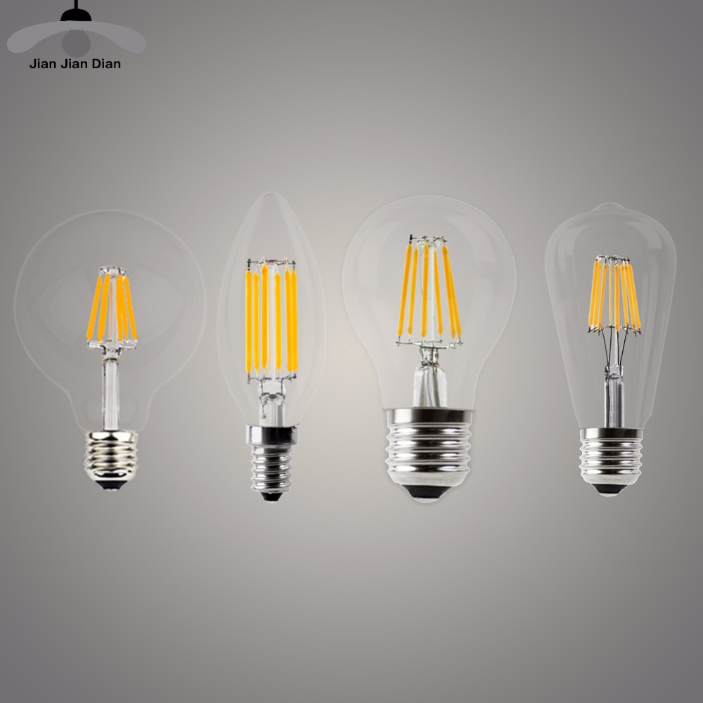 LED Candle Bulb E14 Vintage C35 Filament Light Bulb E27 LED Edison Globe Lamp 220V A60 Glass 2W 4W 6W 8W DIMMABLE 4pcs candle e14 edison led filament bulb c35 vintage spiral lamp warm 2200k soft flexible filament cob led bulb gold tint