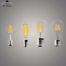 LED Candle Bulb E14 Vintage C35 Filament Light Bulb E27 LED Edison Globe Lamp 220V A60 Glass 2W 4W 6W 8W DIMMABLE