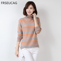 FRSEUCAG Autumn And Winter New Fashion Women S High Neck Knitted Striped Sweater Soft And Comfortable