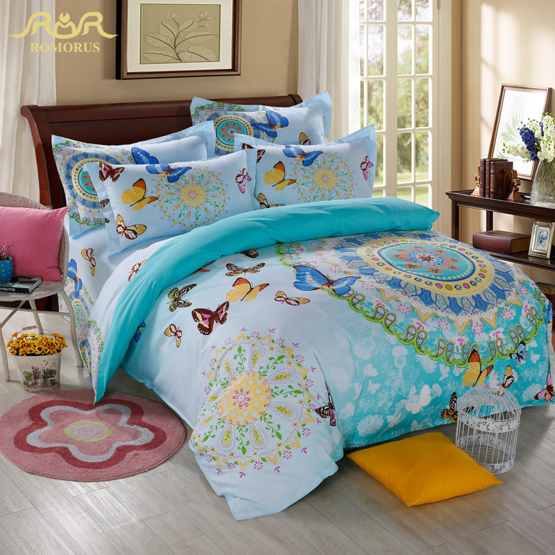 romorus new boho bohemian style butterfly bedding sets 4pcs for girls bright blue pink bed linen