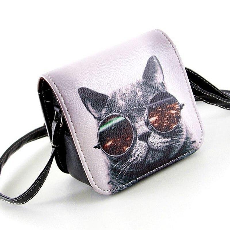 Bolsas de Mensajero de las mujeres de LA PU Gato Gafas Grandes de Impresión De L