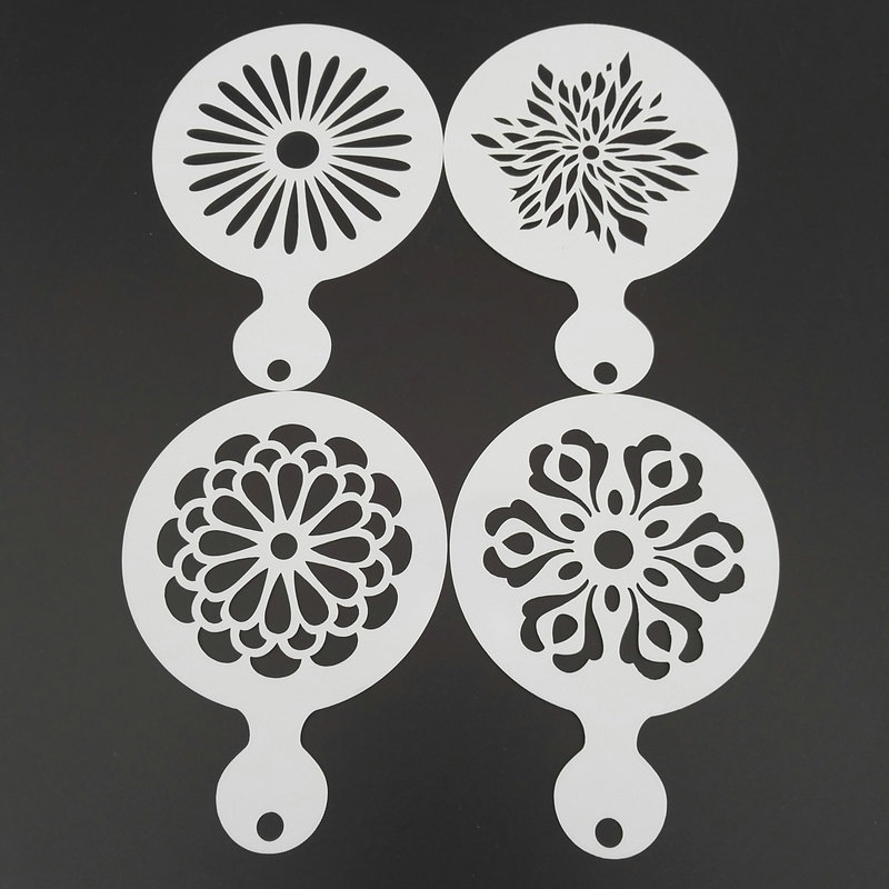 4pcs/set Flower Coffee Stencil Plastic Stencil Template Mold Milk Cappuccino Cookie Latte Art Tools Barista Accessories