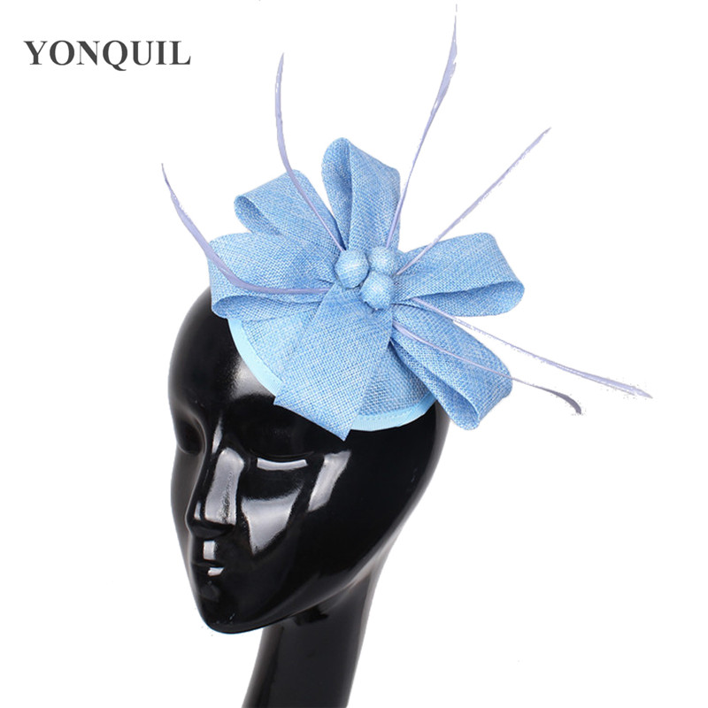 Fashion Light Blue Fascinator Elegants Wedding Party Hats Millinery Hair Clips Feather Headwear For Cocktail Hair Accessories