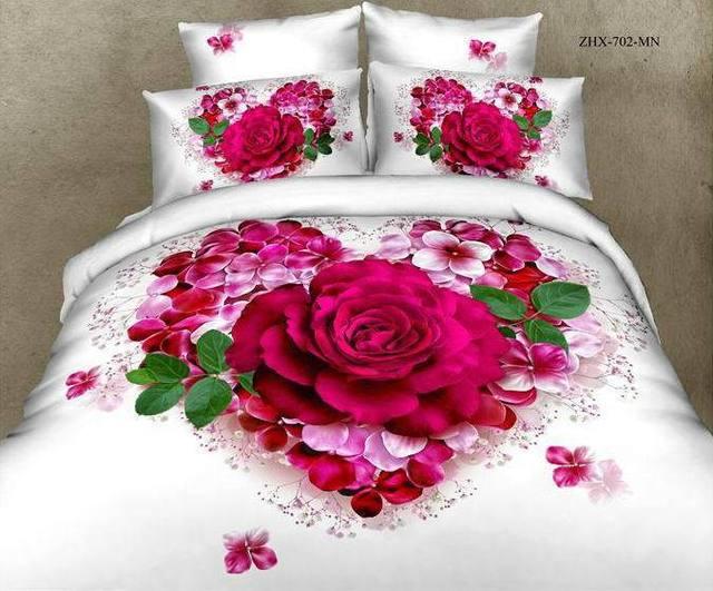 3d rouge rose amour designer floral ensemble de literie queen size housse de couette couvre