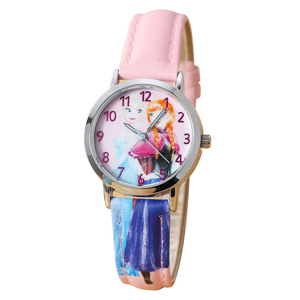 Able Children Girls Wristwatches Quartz Cartoon Genuine Leather Disney Brand Frozen Watches Waterproof Number Citizen Movement Children's Watches