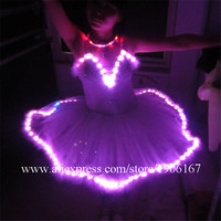 2015 Fashion RGB Colorful Led Light Up Women Evening Dress Costume Luminous Growing Sexy Clothing For Carnival Party Dress