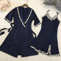 Women Sexy Silk Satin Robe Gown Set Lace Sleepwear Set Fashion Bathrobe Set Robe+Nightdress