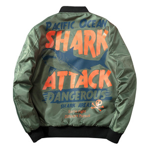 Image 4 - Winter Bomber Pilot Jacket Men Streetwear Anime Shark Print Baseball Jacket Women Hip Hop Couple Coat Fashion Hipster Autumn