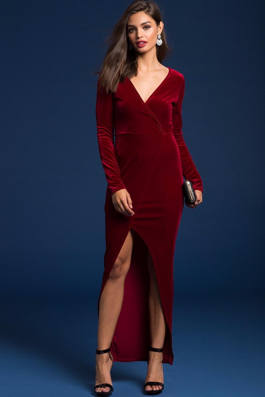 2018 red velvet vintage sexy party dress women v neck ... Red Dresses For Women 2018