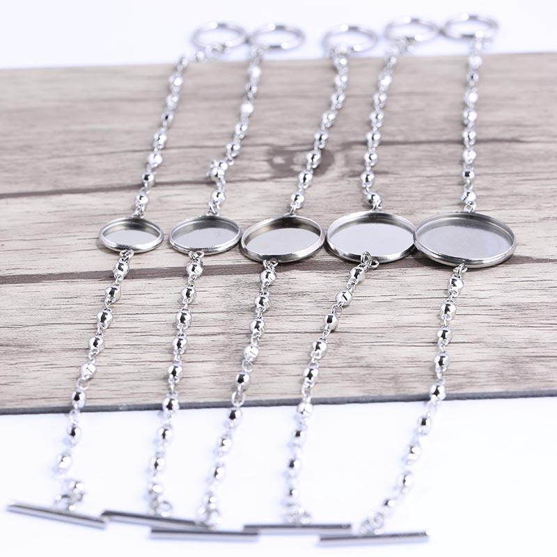 Onwear 5pcs Fit 12mm 14mm 16mm 18mm 20mm Round Cabochon Bracelet Blanks Stainless Steel Metal Bezel Trays For Bracelets Making