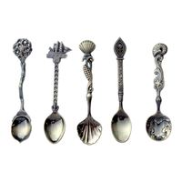 YHYS 5Pcs/Set Dining Bar Coffee Tea Spoons Vintage Royal Bronze Carved Mini Ice Cream Tool Kitchen Accessories For Dessert