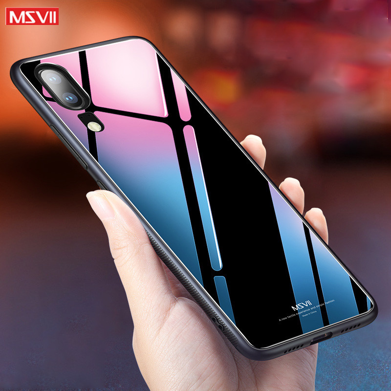 coque For Huawei P20 pro case MSVII Silicone protection case For Huawei P20 lite Tempered glass phone back Cover P 20 plus case