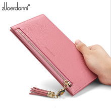 Fashion Long thin Wallet woman Zipper Phone wallets Soft leather purse high Quality Cowhide Card Holder Money Bag new