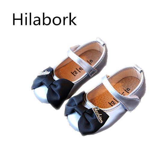 2017 spring ultra-slim leather girl leather shoes bow tie wear breathable girl princess square mouth shoes casual leather shoes