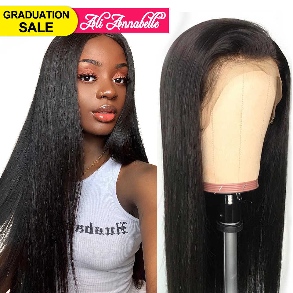 Али Annabelle бразильские прямые волосы на шнурках спереди человеческие волосы парики для женщин remy волосы прямые парик с волосами младенца натуральные волосы линия