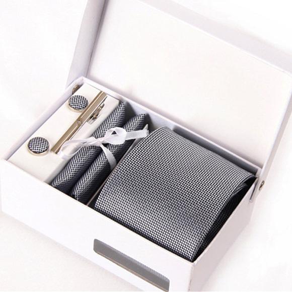 2016 hombres kravat entrevista gravata corbata formal de negocios masculino gris mariage boda gent sólido corbata hanky gemelos set