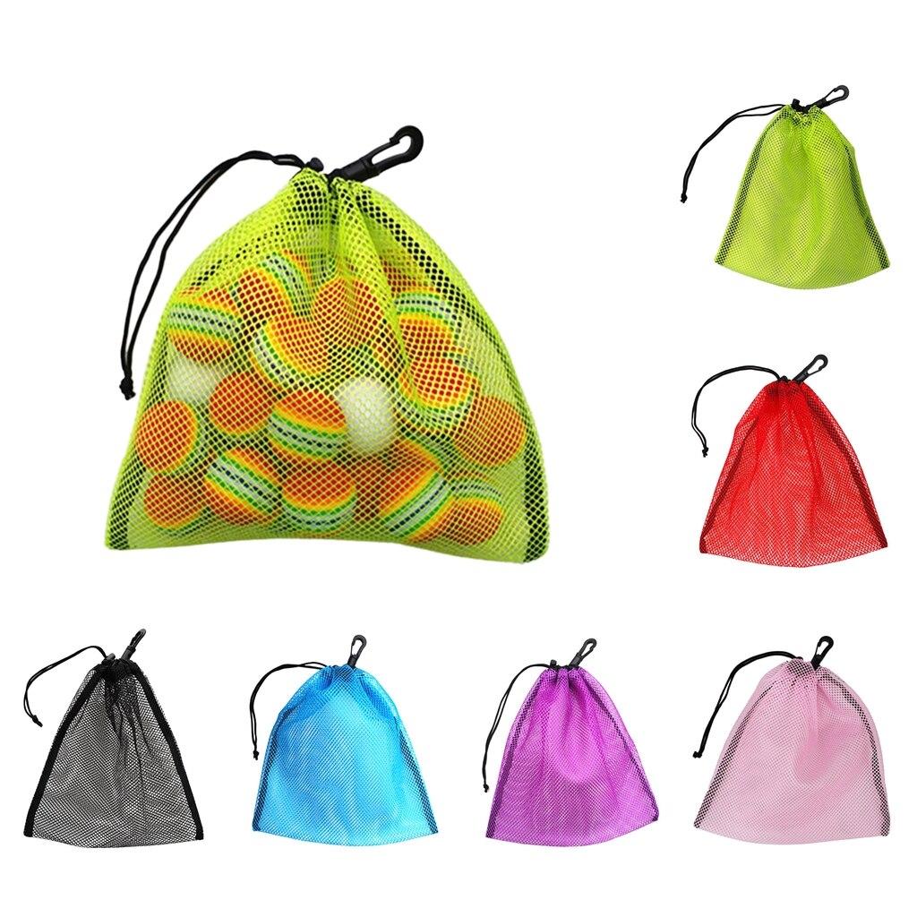 Golf-Tennis-30-Balls Carrying-Holder Bag-Pouch Storage Drawstring Lightweight Nylon Mesh-Nets