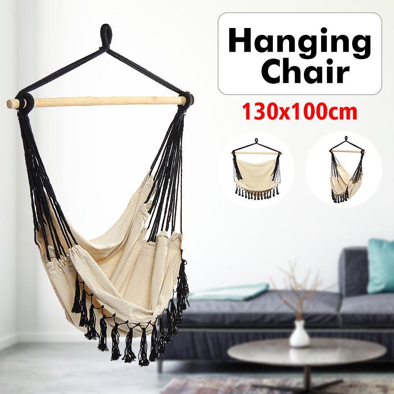 Hammock Hanging Chair Outdoor Indoor Furniture For Adult Children Swinging Chair Garden Swing With Wooden Stick